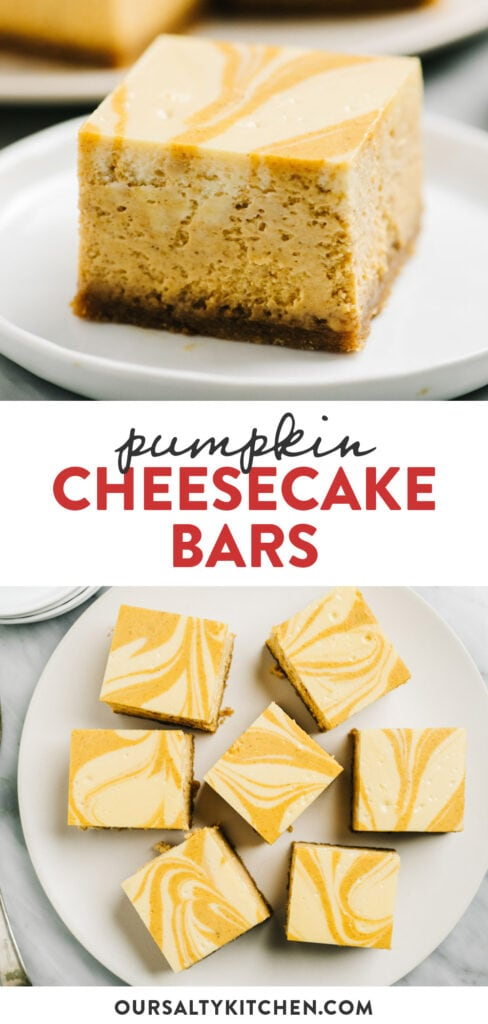 Pinterest collage depicting a recipe for pumpkin cheesecake bars.