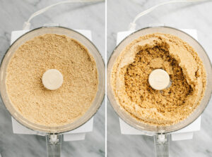 A collage showing how to make a graham cracker crust in a food processor.