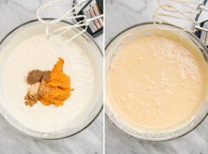 Pumpkin flavored cheesecake filling in a mixing bowl.