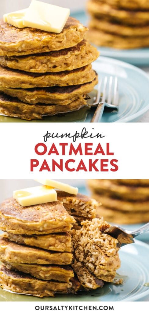 Pinterest collage for pumpkin pancakes made with oatmeal.