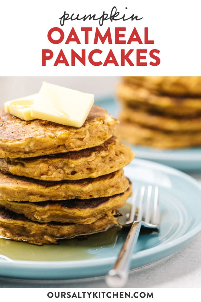 Pinterest image for pumpkin pancakes made with oatmeal.