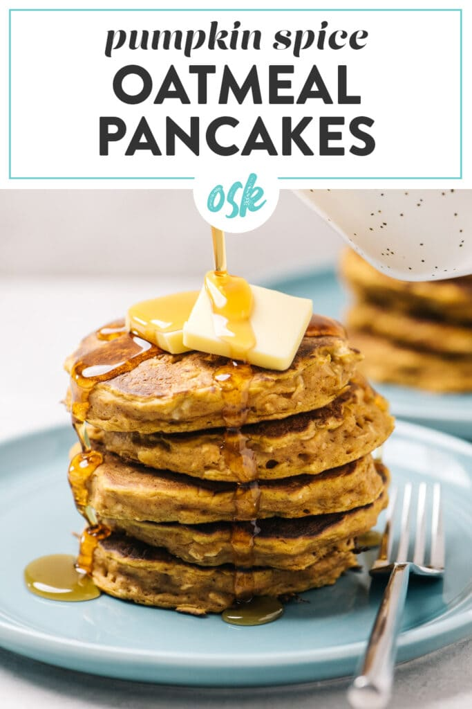Pinterest image for pumpkin oatmeal pancakes recipe.