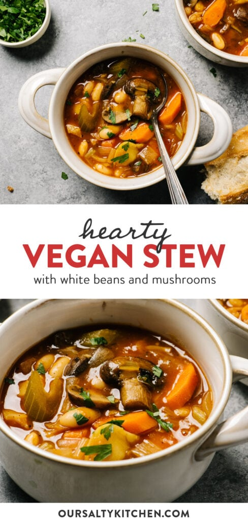 Pinterest collage for a vegan stew recipe with white beans and mushrooms.