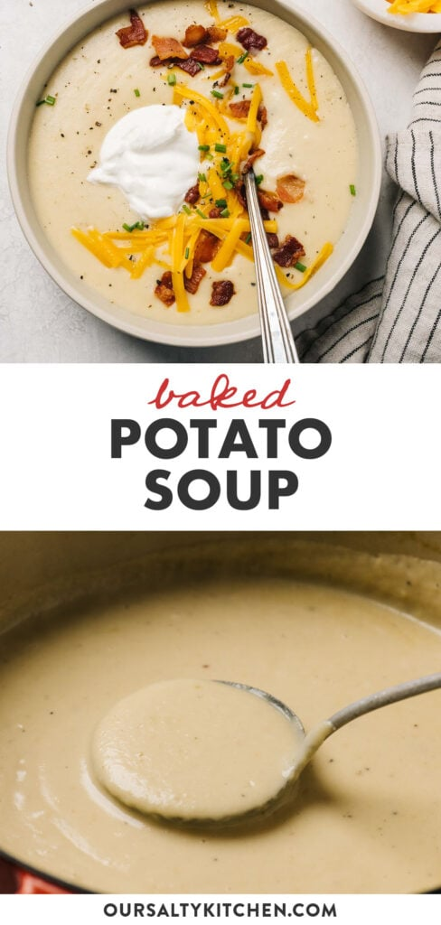 Pinterest collage for a baked potato soup recipe.