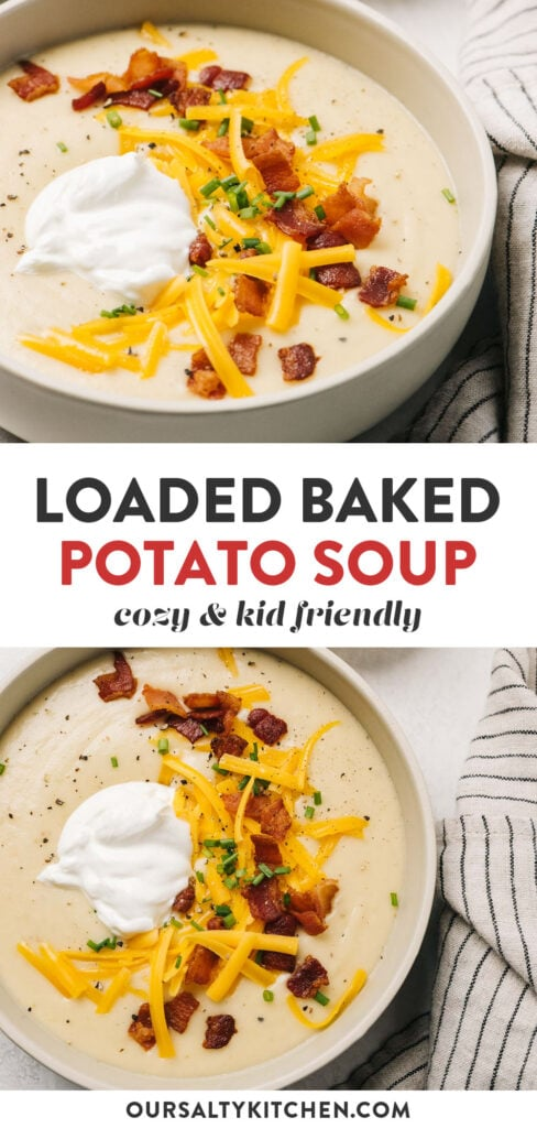 Pinterest collage for a loaded potato soup recipe.