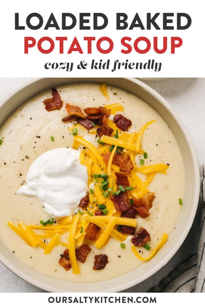 Pinterest image for a loaded potato soup recipe.