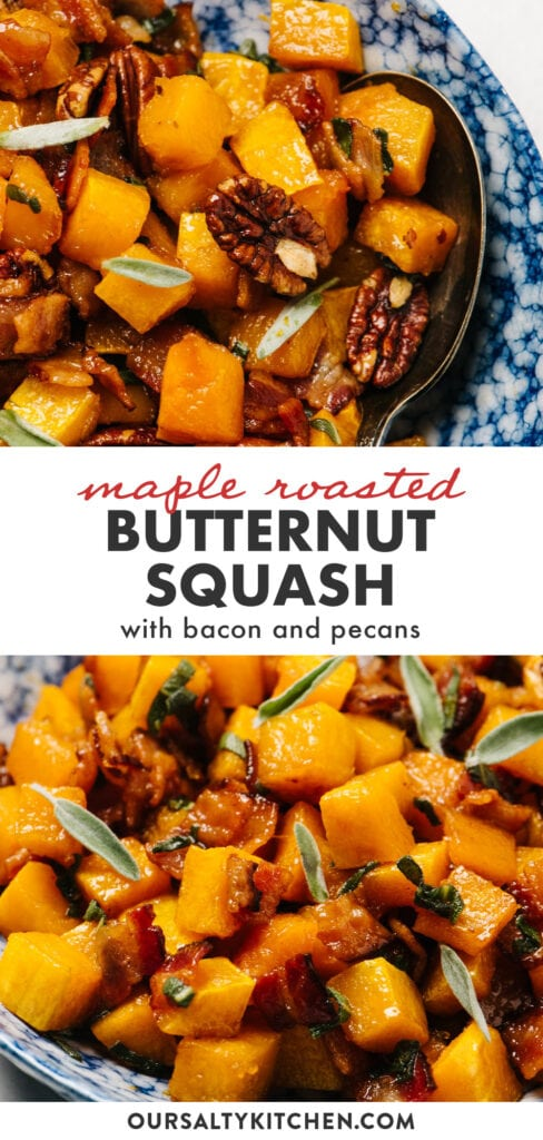 Pinterest collage for maple roasted butternut squash with bacon and pecans.