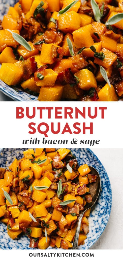 Pinterest collage for a roasted butternut squash recipe with bacon and sage.