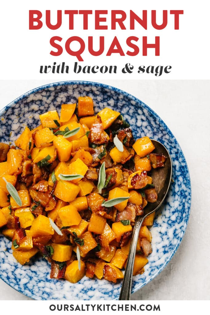 Pinterest image for a roasted butternut squash recipe with bacon and sage.