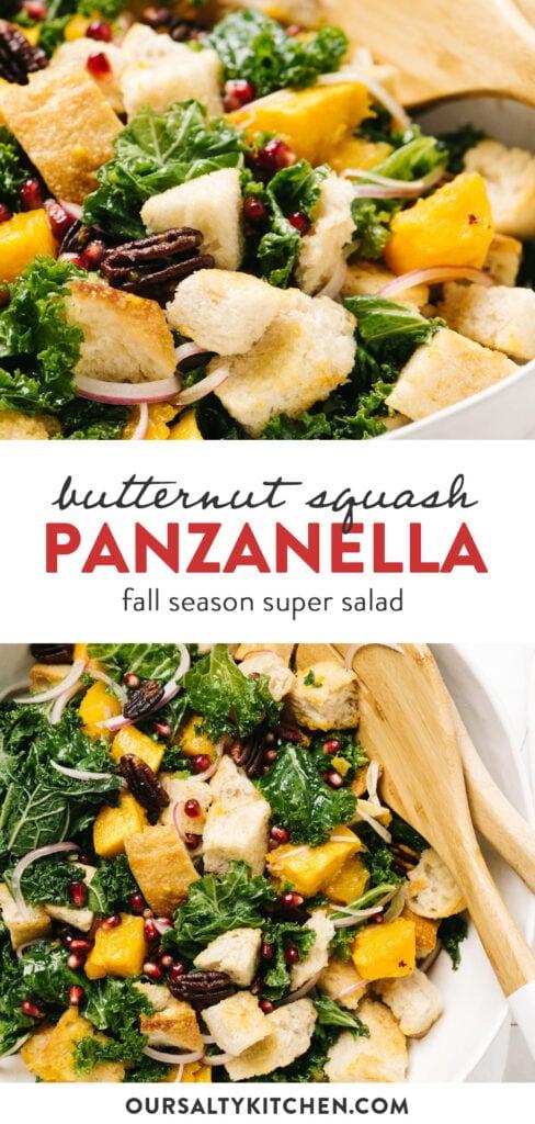 Pinterest collage for a butternut squash panzanella recipe with maple vinaigrette.