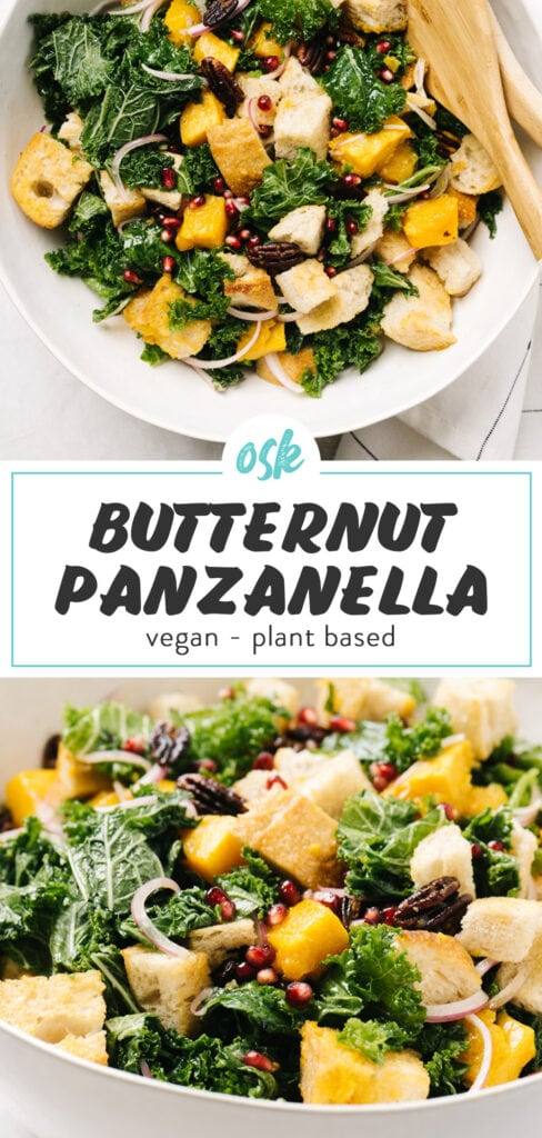 Pinterest collage for a vegan panzanella recipe with butternut squash, kale, and pomegranates.
