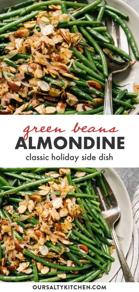 Pinterest collage for a green beans almondine recipe.