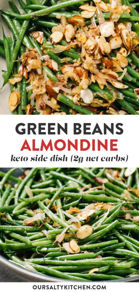 Pinterest collage for keto green beans almondine recipe (green beans with almonds).