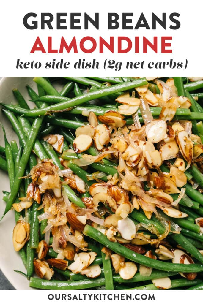 Pinterest image for keto green beans almondine recipe (green beans with almonds).