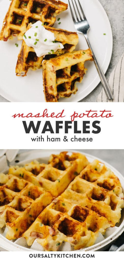 Pinterest collage for a mashed potato waffles recipe.
