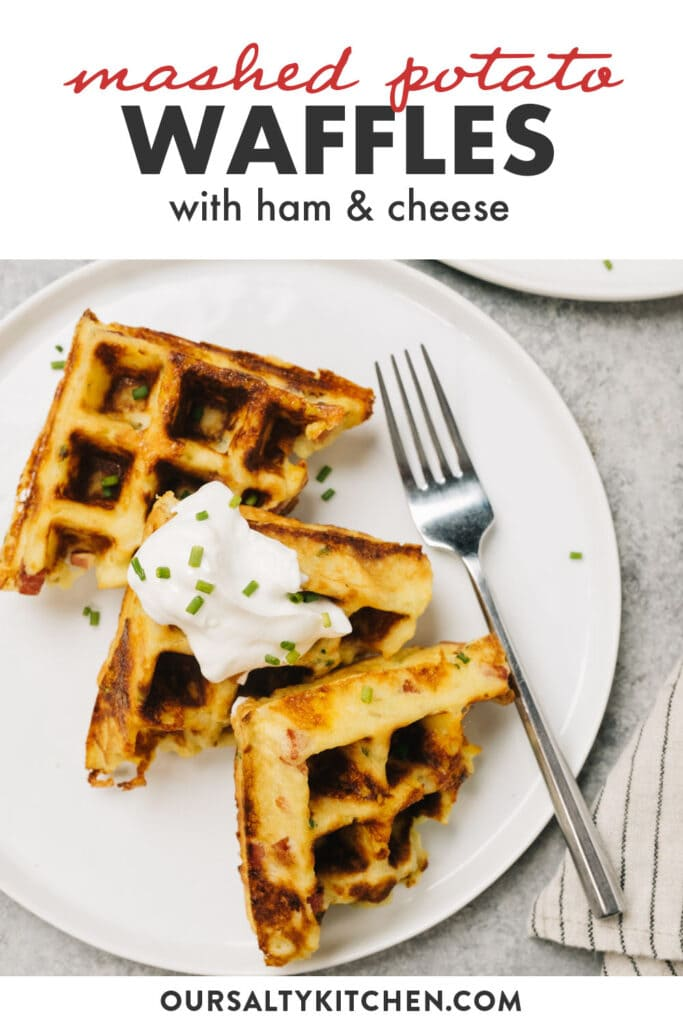 Pinterest image for waffles made out of leftover mashed potatoes.