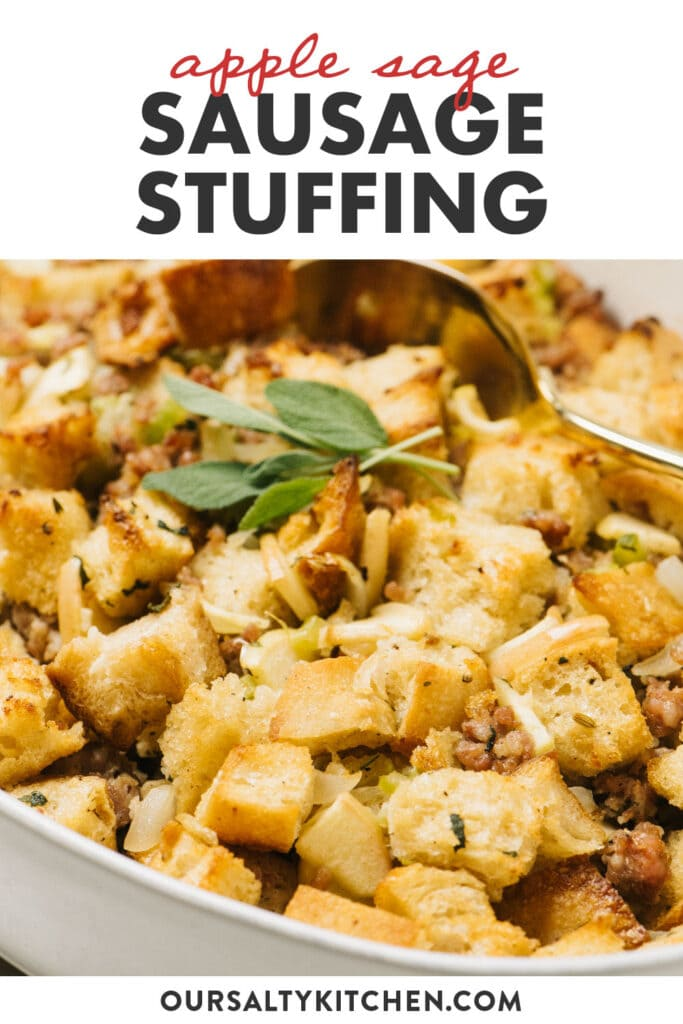 Pinterest image for an apple sausage stuffing recipe with fresh sage.