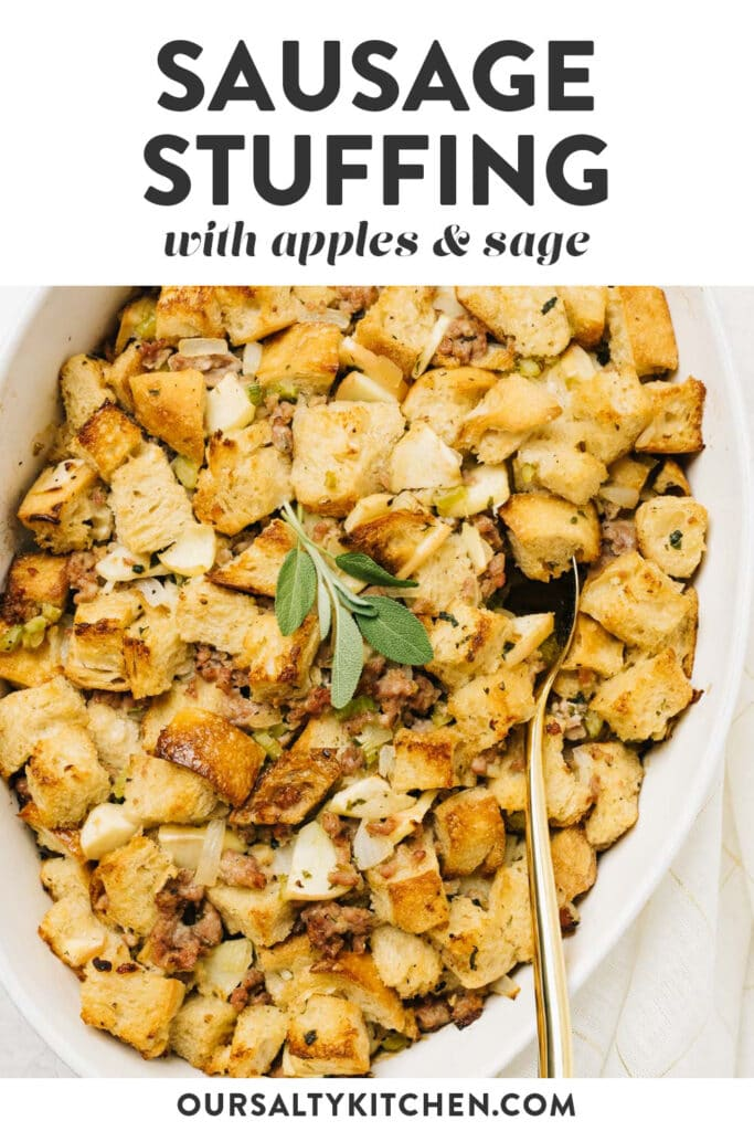 Pinterest image for a sausage stuffing recipe.