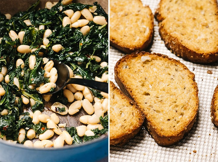 Left - cooked white beans with kale in a blue dutch oven; right - garlic toast on a baking sheet.