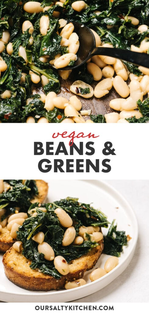Pinterest collage for a vegan beans and greens recipe.