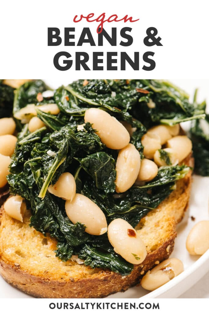 Pinterest image for a vegan beans and greens recipe.