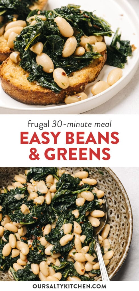 Pinterest collage for a quick beans and greens recipe, served over garlic toast.