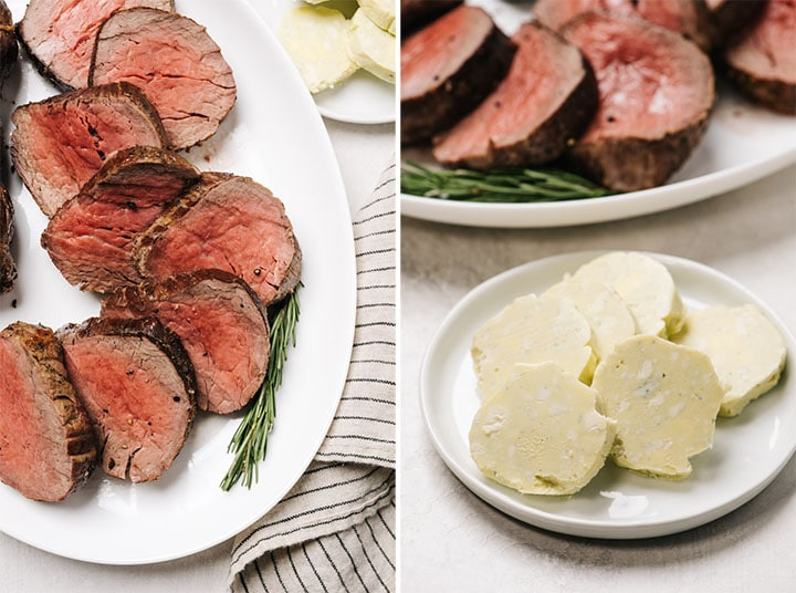 Left - a carved beef tenderloin roast on a white platter; right - slices of blue cheese butter on a white plate with tenderloin roast slices in the background.