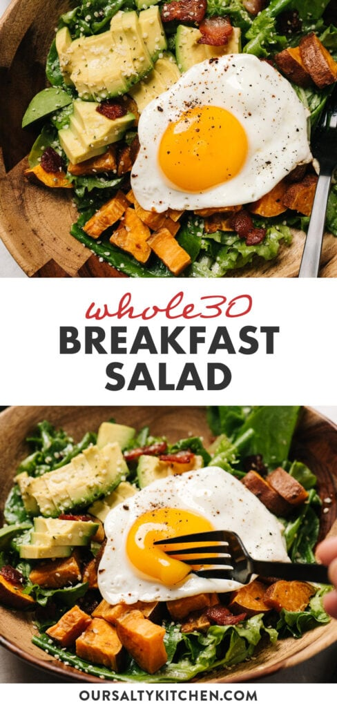 Pinterest collage for a whole30 breakfast salad with a fried egg.