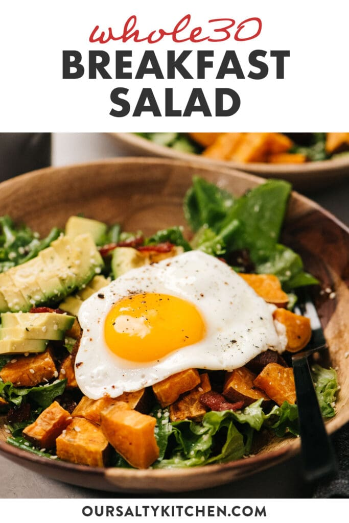 Pinterest image for a whole30 breakfast salad with a fried egg.