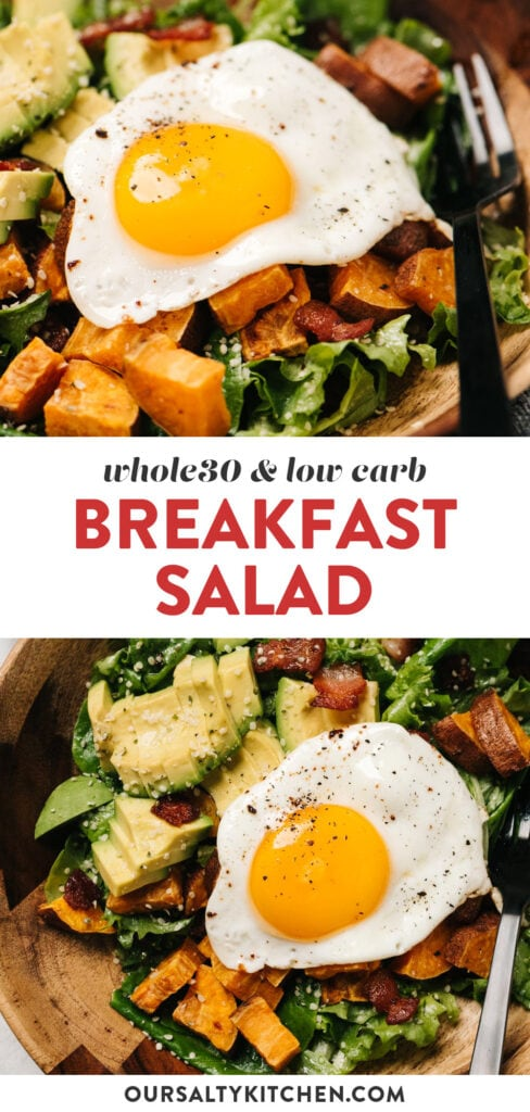 Pinterest collage for a low carb breakfast salad recipe with bacon, egg, avocado, and roasted sweet potatoes.