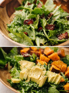 Top - salad greens tossed with bacon, dressing, and hemp seeds; bottom - diced avocado and roasted sweet potatoes on a bed of salad greens.