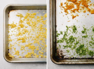 Lemon zest, lime zest, and orange zest air drying on baking sheets.
