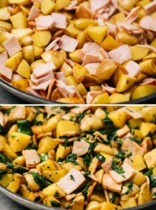 Top - adding canadian bacon to a skillet with potatoes; bottom - adding fresh spinach to a skillet with potatoes and canadian bacon.