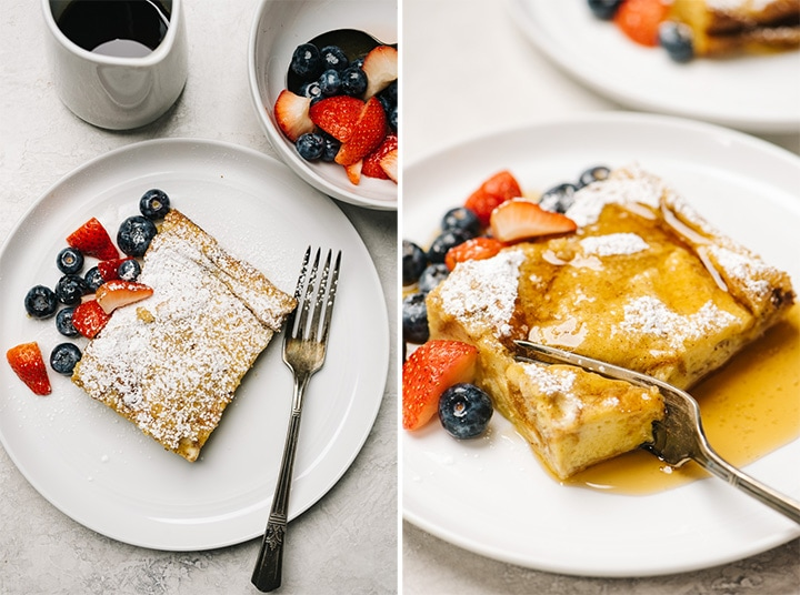 Left - a slice of french toast casserole on a plate with powdered sugar and fresh berries; right - a fork take a bite of french toast casserole drizzled with maple syrup.