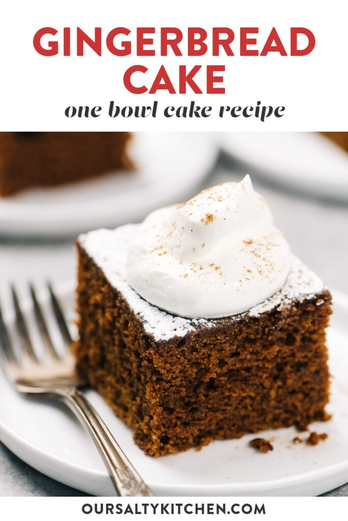 Pinterest image for a dairy free gingerbread cake recipe made with olive oil.