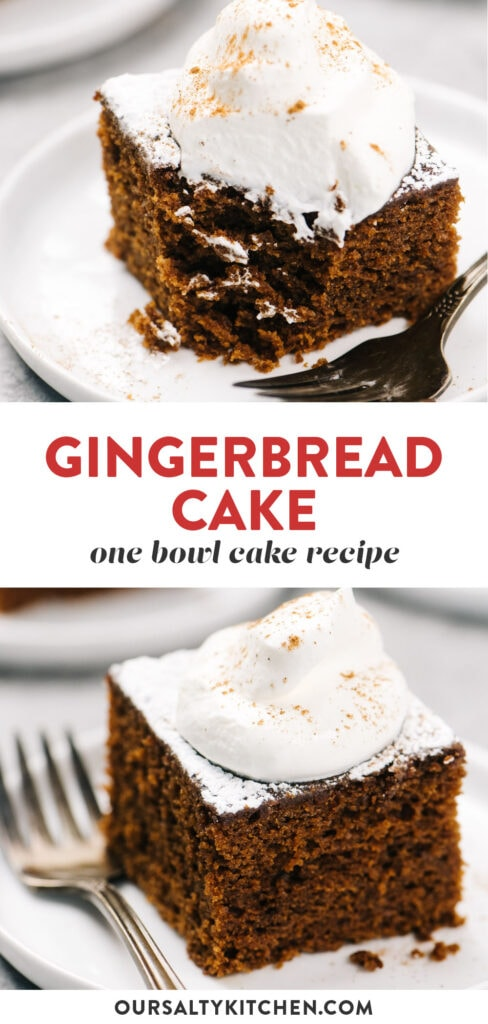 Pinterest collage for a dairy free gingerbread cake recipe made with olive oil.