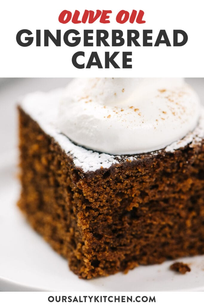 Pinterest image for an olive oil gingerbread cake recipe.