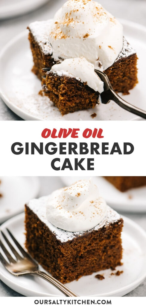 Pinterest collage for an olive oil gingerbread cake recipe.