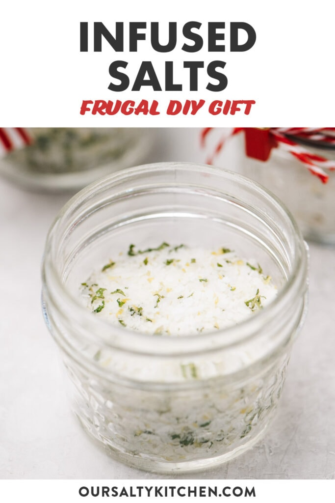 Pinterest image for a trio of homemade infused salts - citrus, lemon basil, and rosemary.
