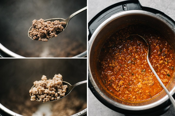 A collage showing browned ground beef, browned ground pork, and cooked instant pot chili.