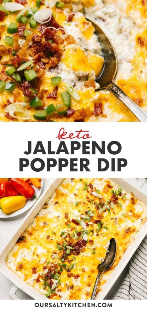 Pinterest collage for a keto appetizer recipe - Jalapeno Popper Dip.