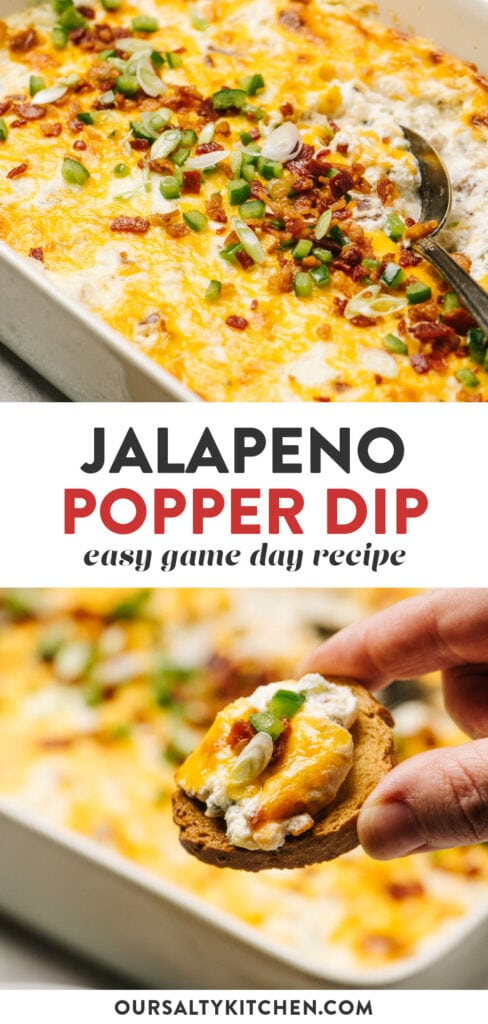 Pinterest collage for a recipe for Jalapeno Popper Dip.