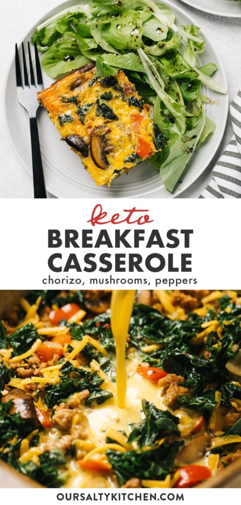 Pinterest collage for a spicy keto breakfast casserole recipe with chorizo sausage and vegetables.