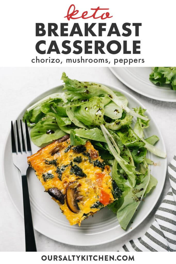 Pinterest image for a spicy keto breakfast casserole recipe with chorizo sausage and vegetables.