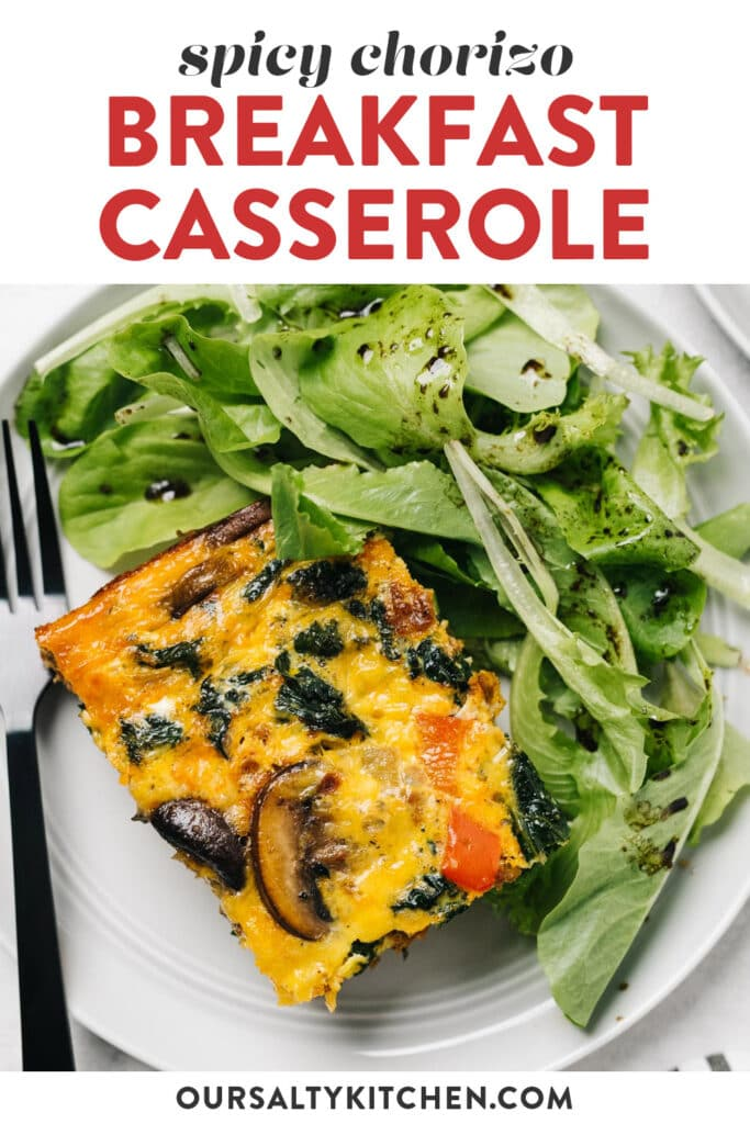 Pinterest image for a spicy breakfast casserole recipe with chorizo sausage, vegetables, and kale.
