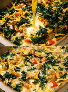 Top - pouring egg custard into a casserole dish filled with sausage and vegetables; bottom - a keto breakfast casserole before baking.