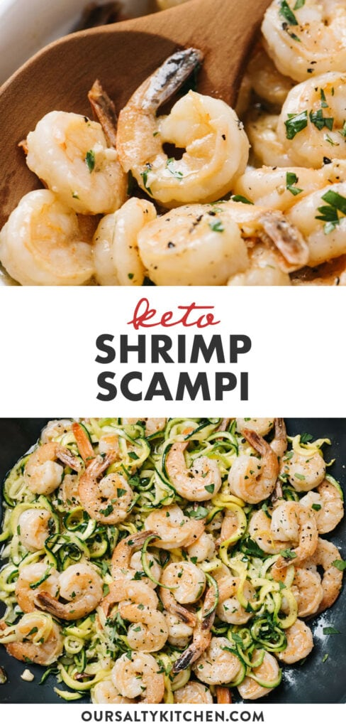Pinterest collage for a keto shrimp scampi recipe with zucchini noodles.