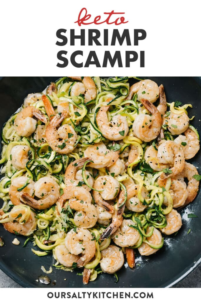 Pinterest image for a keto shrimp scampi recipe with zucchini noodles.