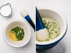 Fresh basil, lemon zest, and kosher salt in a mortar before and after being ground with a pestle.