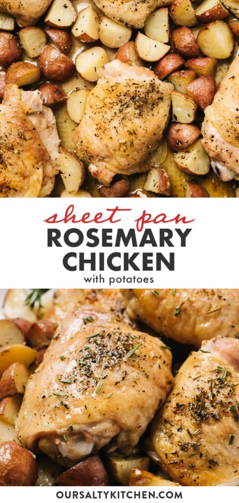 Pinterest collage for a sheet pan rosemary chicken and potatoes recipe.